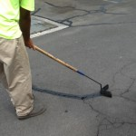 Filling cracks is an important step in asphalt maintenance