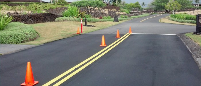 asphalt painting stripes and sealcoating